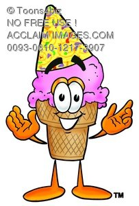 Ice Cream Cartoon Character Wearing a Party Hat