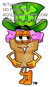 Ice Cream Cartoon Character Waring a St Patricks Day Hat