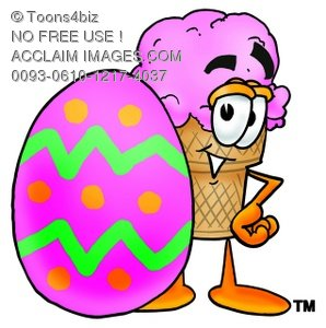 Ice Cream Cartoon Character With an Easter Egg