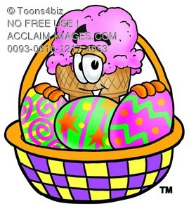 Ice Cream Cartoon Character With Easter Eggs In a Basket