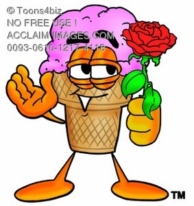 Ice Cream Cartoon Character Holding a Red Rose