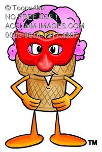 Ice Cream Cartoon Character Wearing a Mask