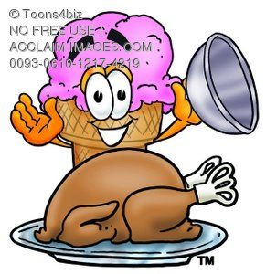 Ice Cream Cartoon Character Serving a Thanksgiving Turkey