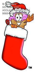 Ice Cream Cartoon Character In a Christmas Stocking