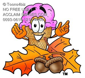 Ice Cream Cartoon Character With Autumn Leaves and Acorns