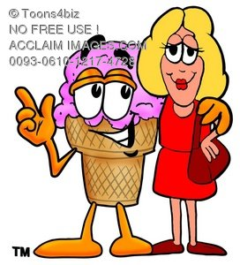 Ice Cream Cartoon Character Talking To a Blond Woman