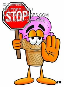 Ice Cream Cartoon Character Holding a Stop Sign