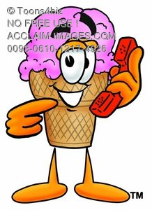 Ice Cream Cartoon Character Holding a Phone