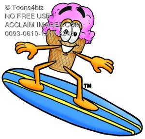 Ice Cream Cartoon Character Surfing