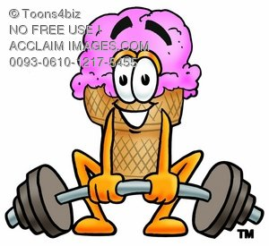 Ice Cream Cartoon Character Lifting Weights