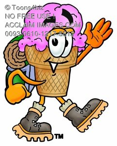 Ice Cream Cartoon Character Hiking