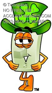 Light Switch Cartoon Character Waring a St Patricks Day Hat