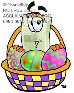 Light Switch Cartoon Character With Easter Eggs In a Basket