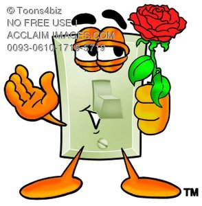 Light Switch Cartoon Character Holding a Red Rose