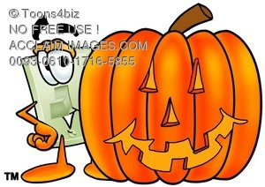 Light Switch Cartoon Character With a Halloween Pumpkin