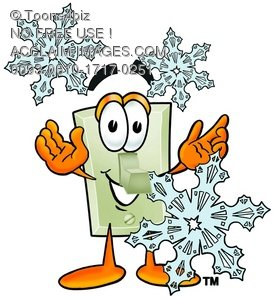 Light Switch Cartoon Character With Snowflakes