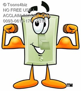 Light Switch Cartoon Character Flexing His Muscles