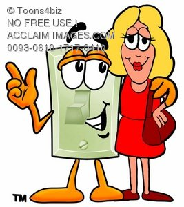 Light Switch Cartoon Character Talking To a Blond Woman