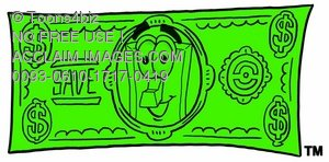 Light Switch Cartoon Character on Money