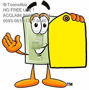 Light Switch Cartoon Character Holding a Yellow Price Tag