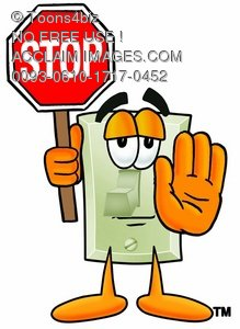 Light Switch Cartoon Character Holding a Stop Sign