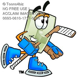 Light Switch Cartoon Character Playing Ice Hockey