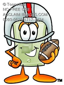 Light Switch Cartoon Character Playing Football