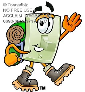 Light Switch Cartoon Character Hiking