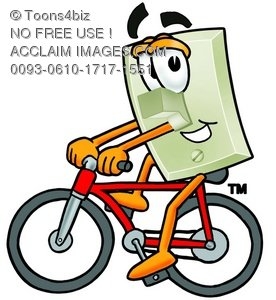 Light Switch Cartoon Character Riding a Bike