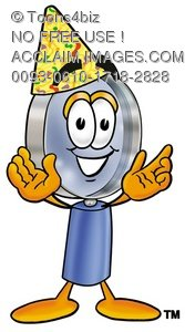 Magnifying Glass Cartoon Character Wearing a Party Hat