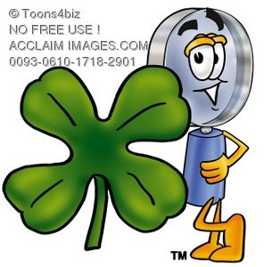 Magnifying Glass Cartoon Character With a Four Leaf Clover