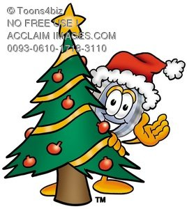 Magnifying Glass Cartoon Character With a Christmas Tree