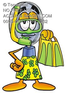 Magnifying Glass Cartoon Character In Yellow Snorkel Gear
