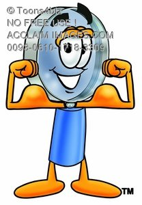 Magnifying Glass Cartoon Character Flexing His Muscles