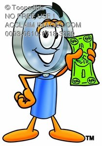 Magnifying Glass Cartoon Character Holding Cash