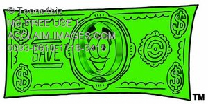 Magnifying Glass Cartoon Character on Money