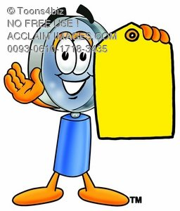 Magnifying Glass Cartoon Character Holding a Yellow Price Tag