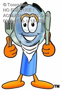 Magnifying Glass Cartoon Character With Eating Utensils
