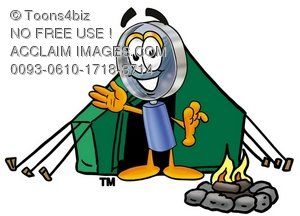 Magnifying Glass Cartoon Character Camping