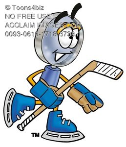Magnifying Glass Cartoon Character Playing Ice Hockey