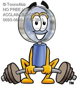 Magnifying Glass Cartoon Character Lifting Weights