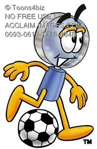 Magnifying Glass Cartoon Character Playing Soccer