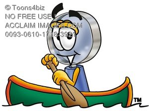 Magnifying Glass Cartoon Character Rowing a Boat