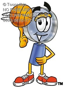 Magnifying Glass Cartoon Character Spinning a Basketball