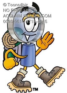 Magnifying Glass Cartoon Character Hiking