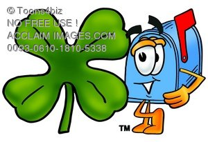 Mail Box Cartoon Character With a Four Leaf Clover