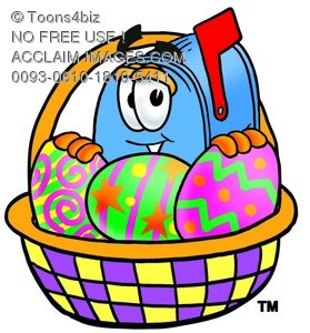Mail Box Cartoon Character With Easter Eggs In a Basket