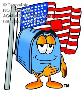 Mail Box Cartoon Character With an American Flag