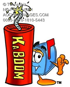 Mail Box Cartoon Character With a Stick of Dynamite