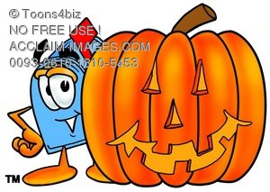Mail Box Cartoon Character With a Halloween Pumpkin
